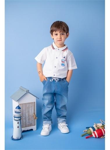 Mininio Mavi Bel Kemerli Lastikli Kot Pantolon (9ay-4yaş) Mavi Bel Kemerli Lastikli Kot Pantolon (9ay-4yaş) Mavi